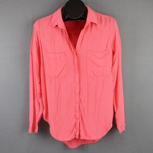 Chelsea & Violet Button Front Shirt Small Pink